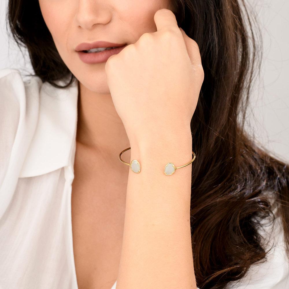 Blue Chalcedony Bangle Bracelet - Gold Plated - 2