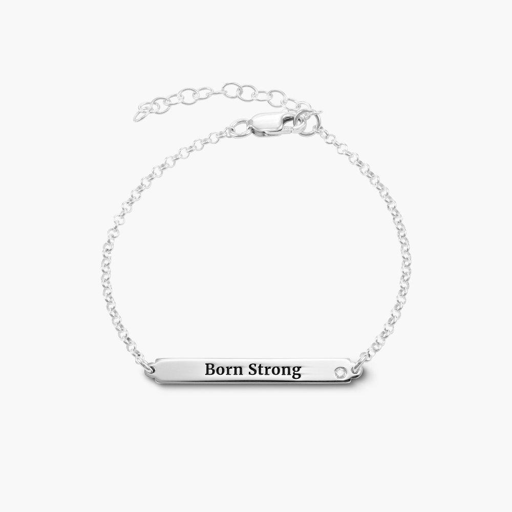ID Name Bracelet with Diamond - Silver