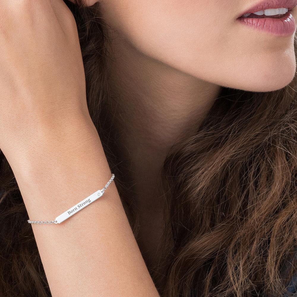 ID Name Bracelet with Diamond - Silver - 2