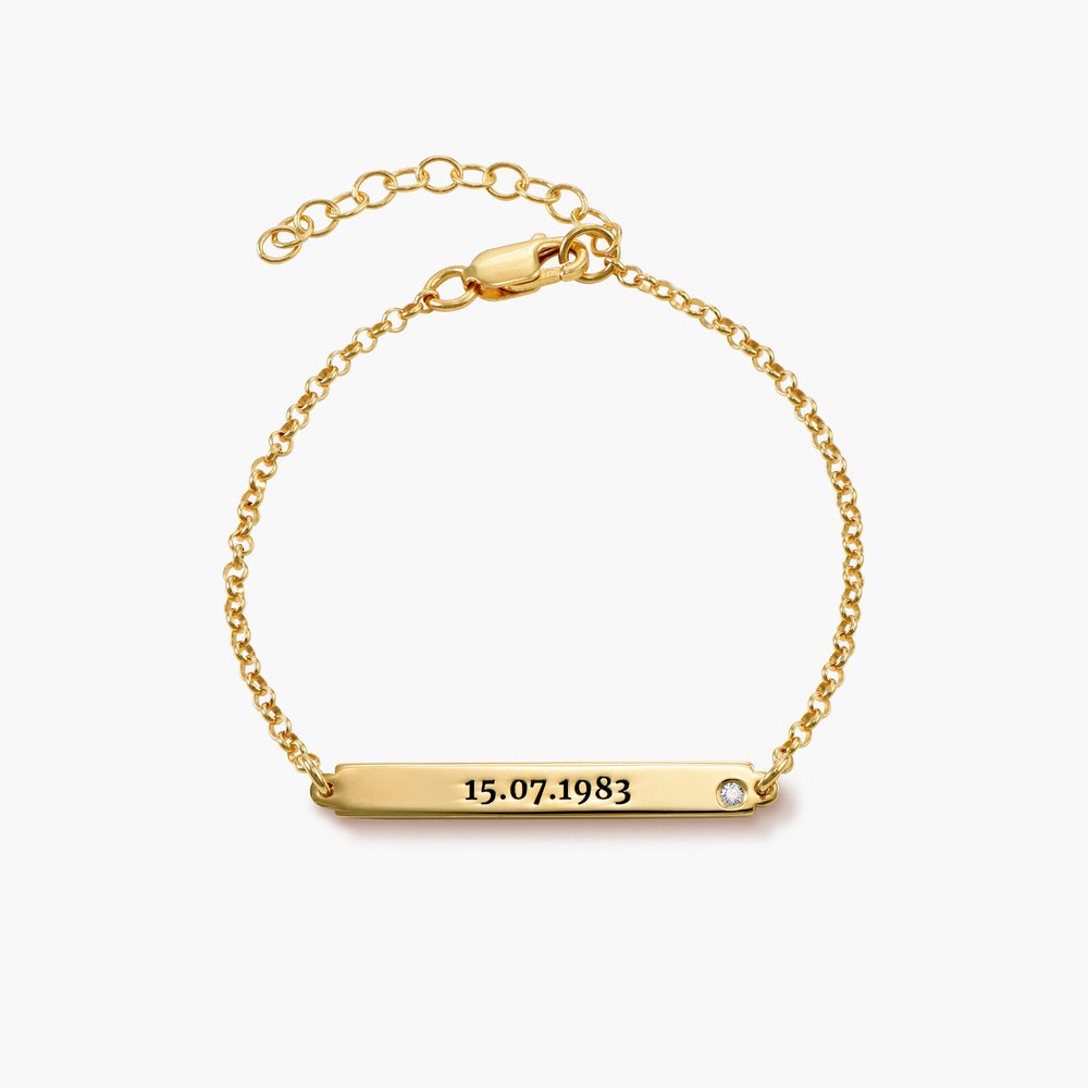 ID Name Bracelet with Diamond - Gold Plated