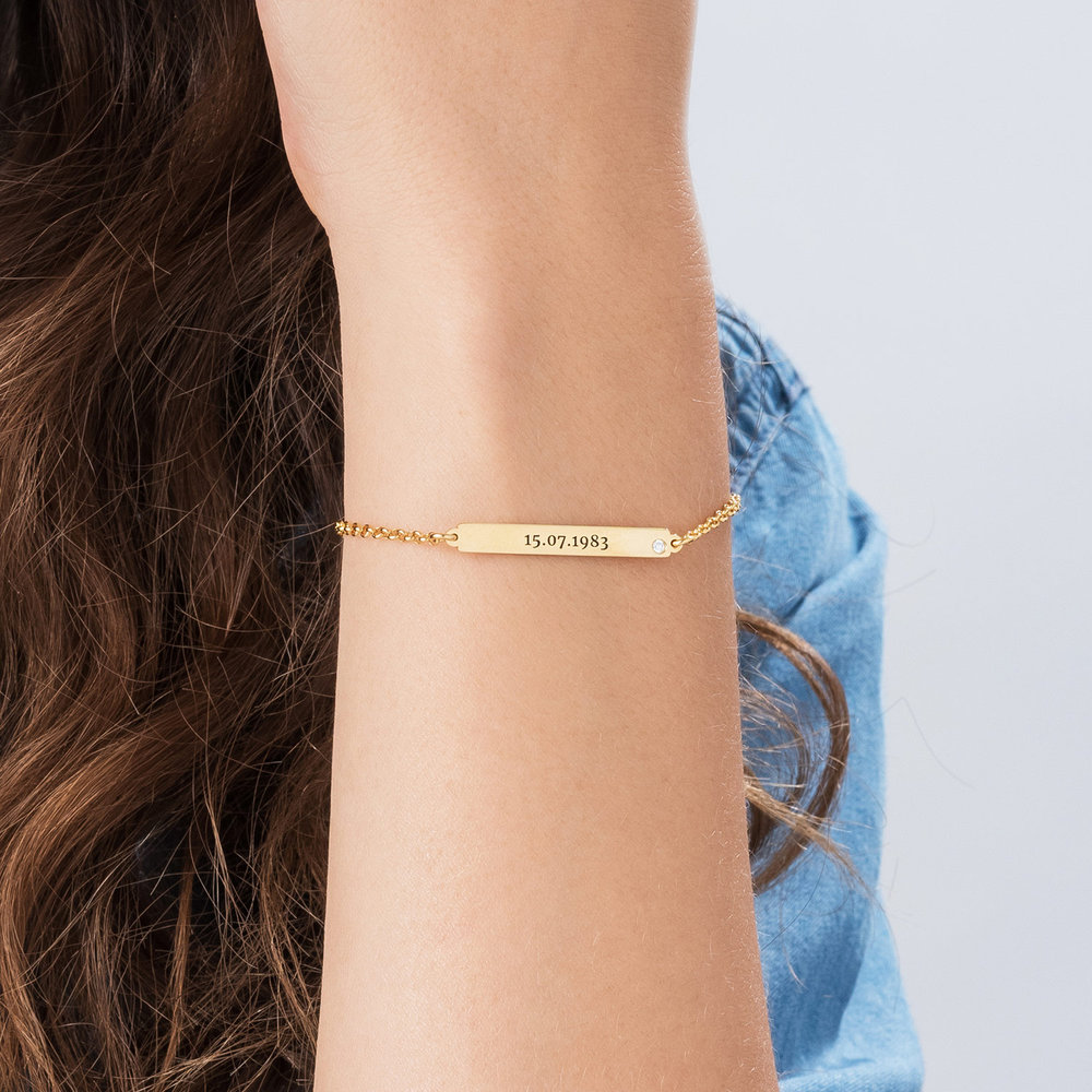 ID Name Bracelet with Diamond - Gold Plated - 2