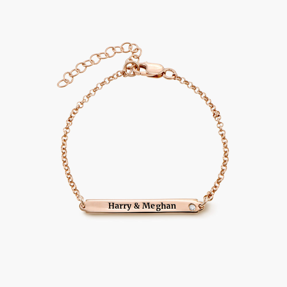 ID Name Bracelet with Diamond - Rose Gold Plated