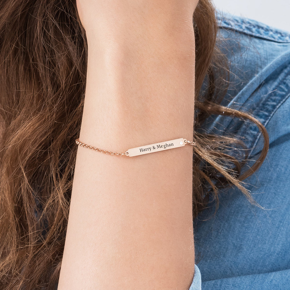 ID Name Bracelet with Diamond - Rose Gold Plated - 2