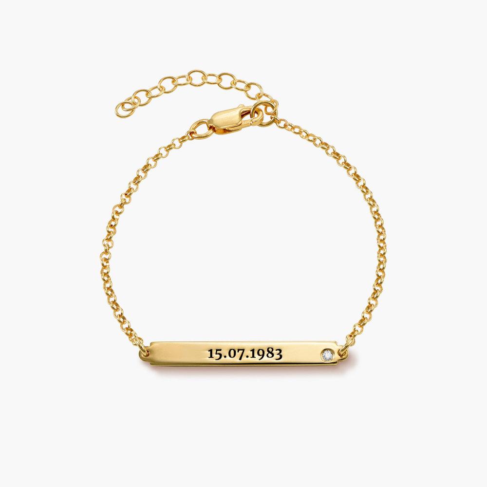 ID Name Bracelet with Diamond - Gold Vermeil