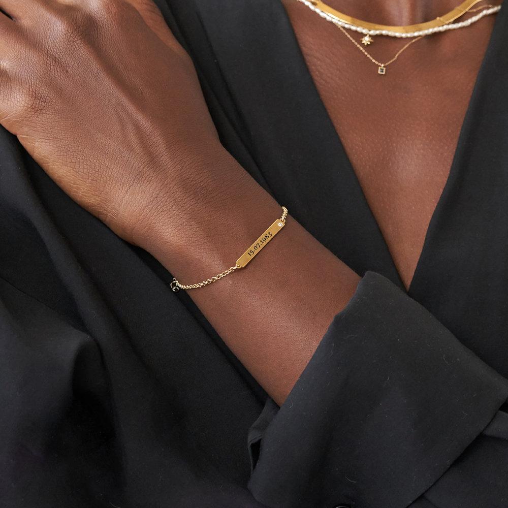 ID Name Bracelet with Diamond - Gold Vermeil - 1