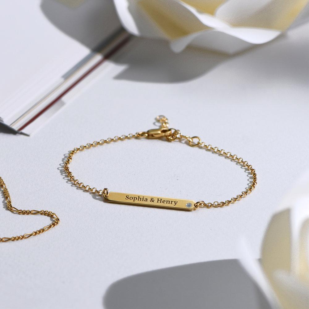 ID Name Bracelet with Diamond - Gold Vermeil - 3