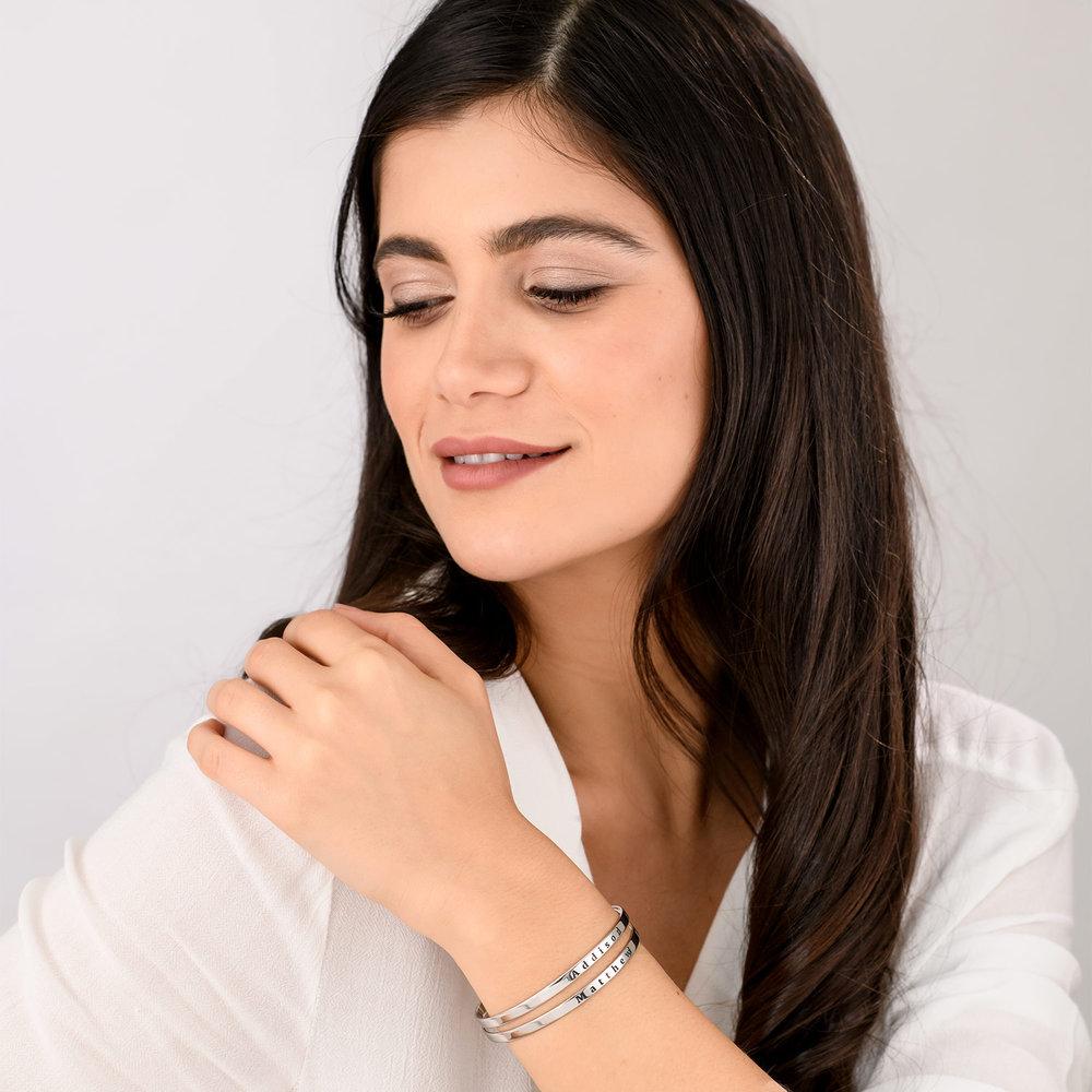 Engraved Bangle Bracelet - Silver - 3