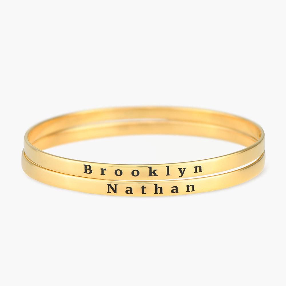 Engraved Bangle Bracelet - Gold Plated - 1