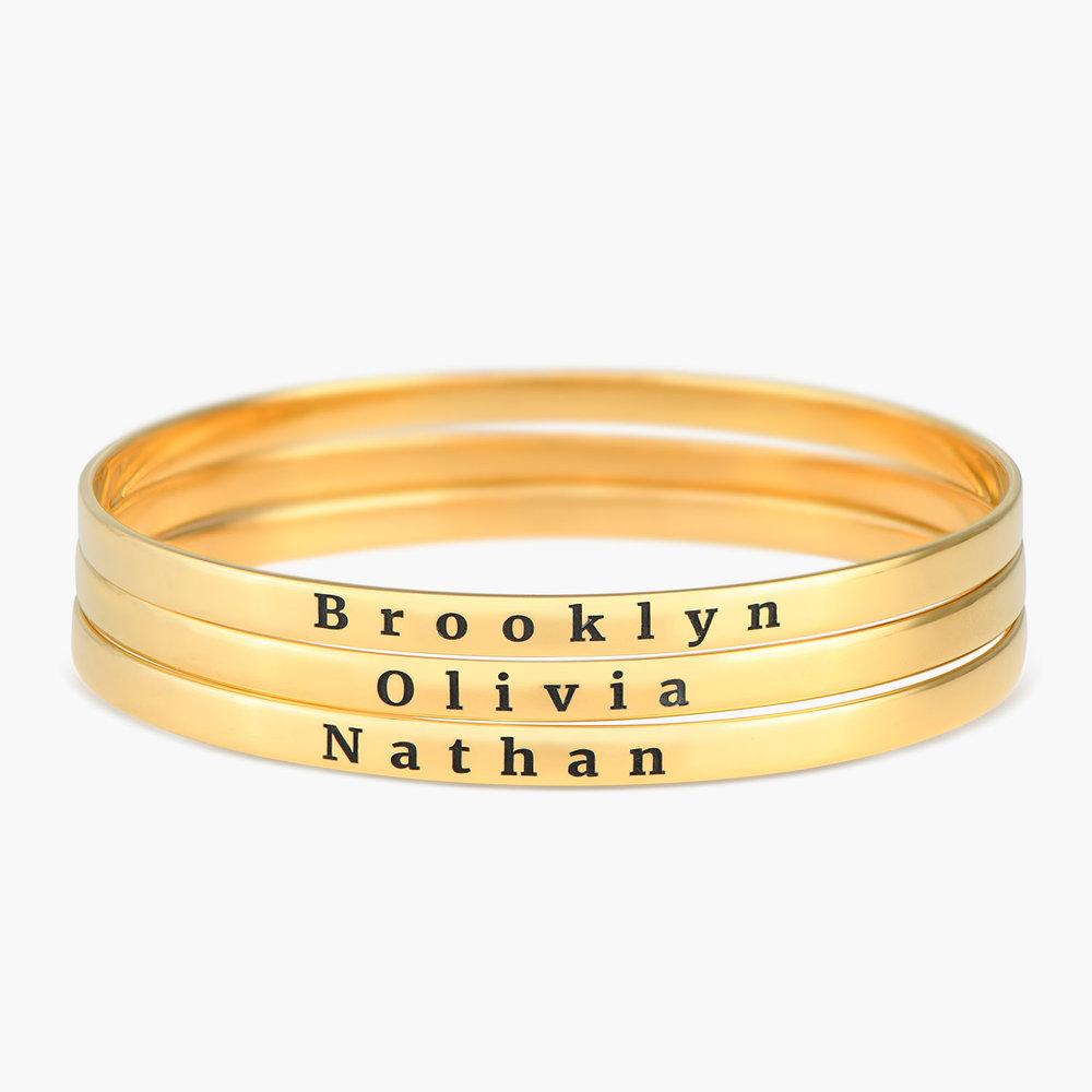 Engraved Bangle Bracelet - Gold Plated - 2
