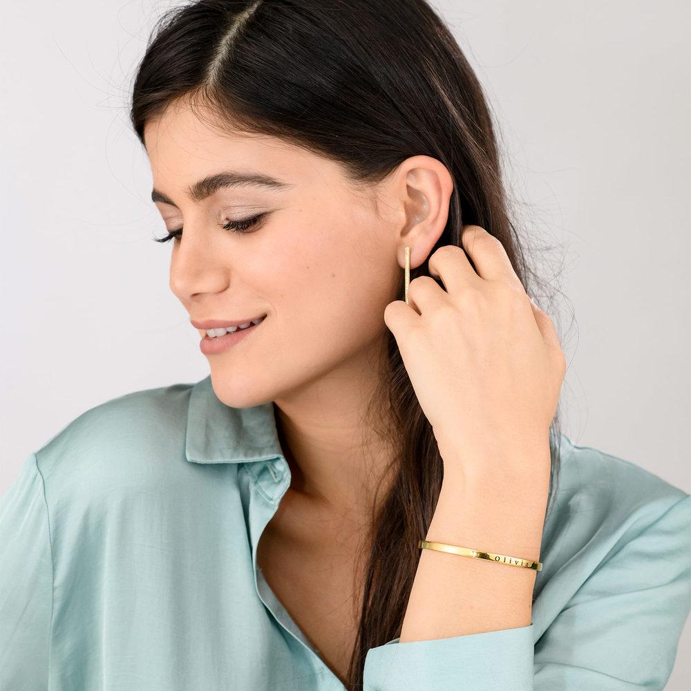 Engraved Bangle Bracelet - Gold Plated - 3