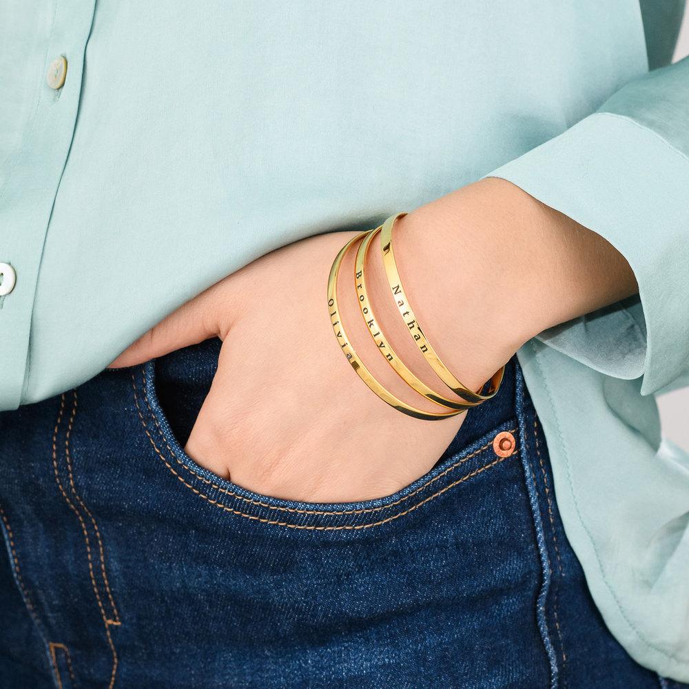 Engraved Bangle Bracelet - Gold Plated - 4
