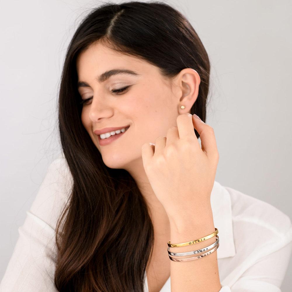 Engraved Bangle Bracelet - Gold Plated - 5