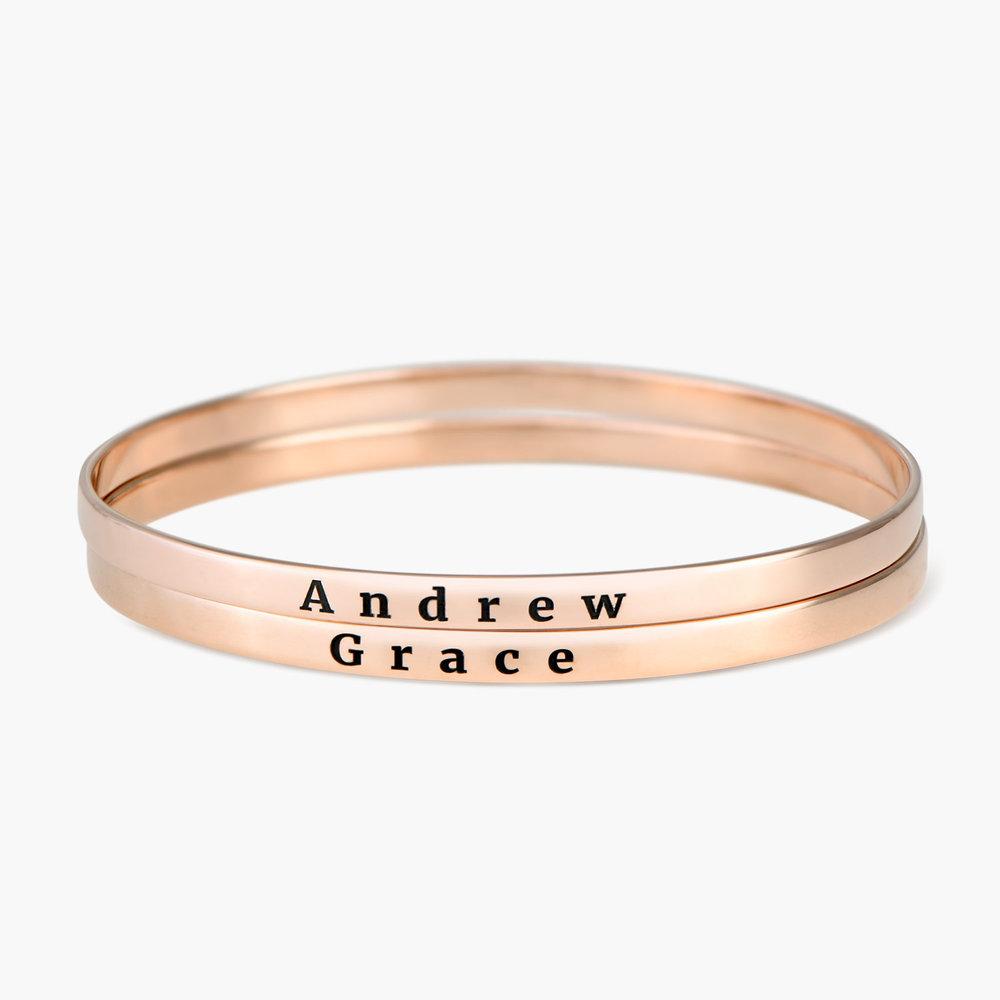 Engraved Bangle Bracelet - Rose Gold Plated - 1