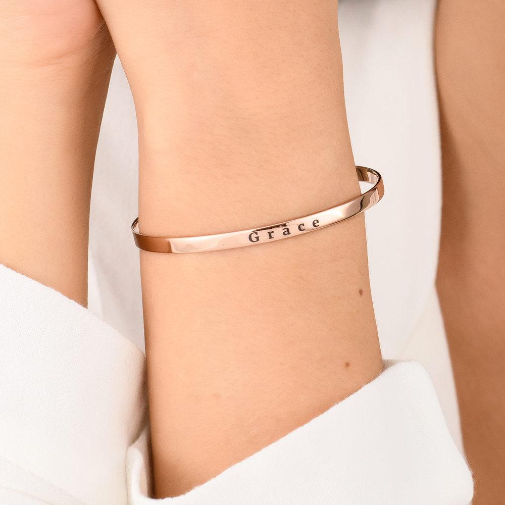 Engraved Bangle Bracelet - Rose Gold Plated - 3