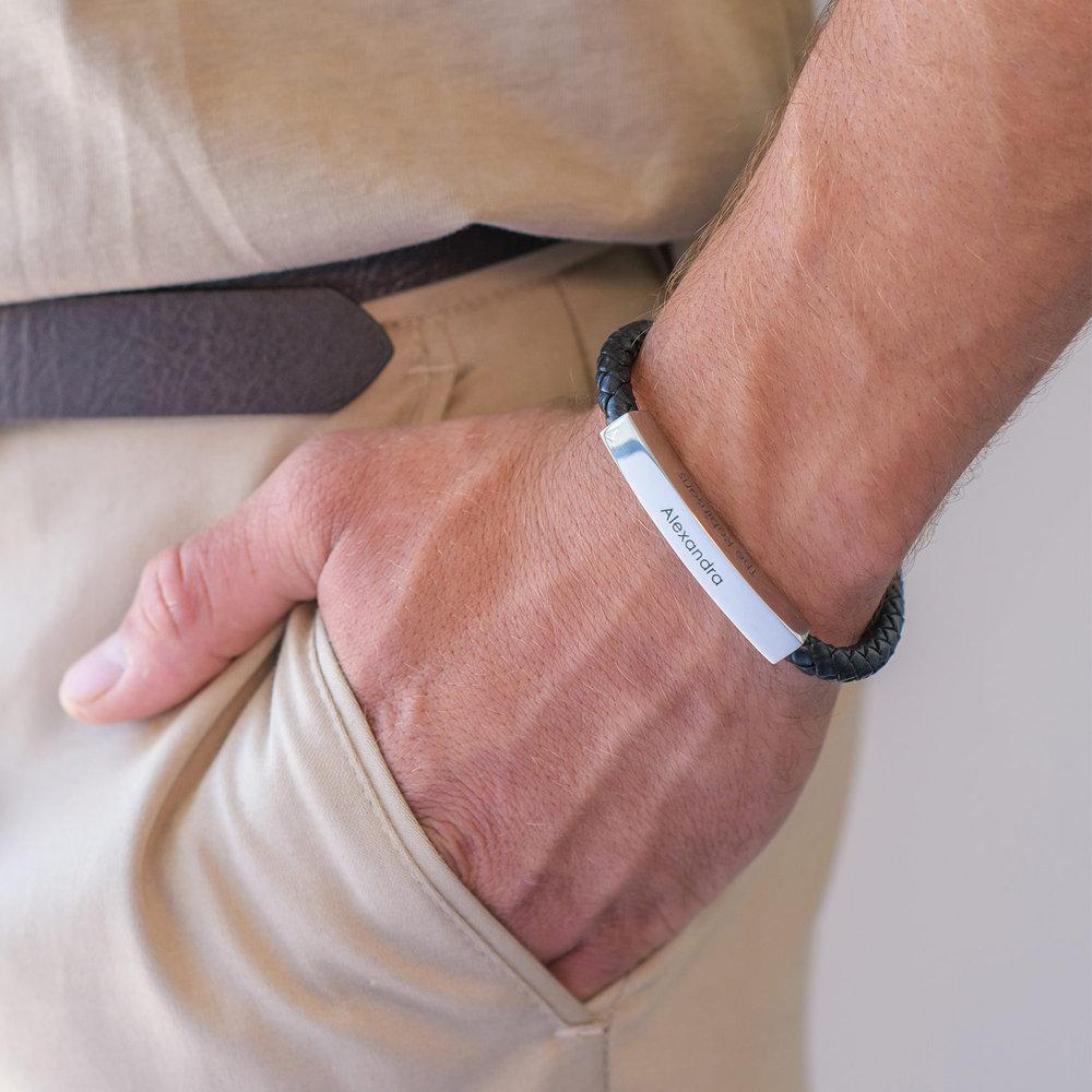 Lucky Strike Bracelet - Black Leather & Silver - 2