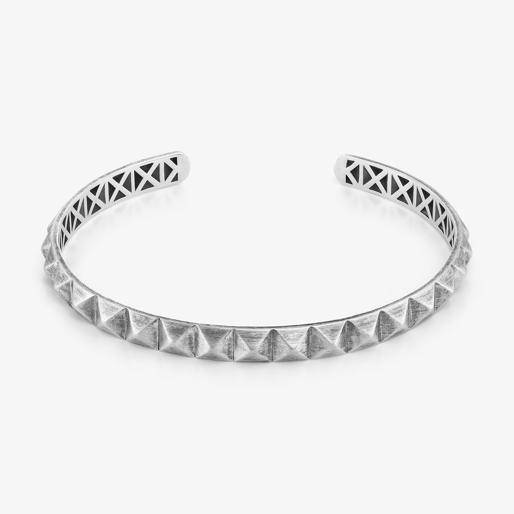 Pyramid Open Cuff Bracelet - Silver