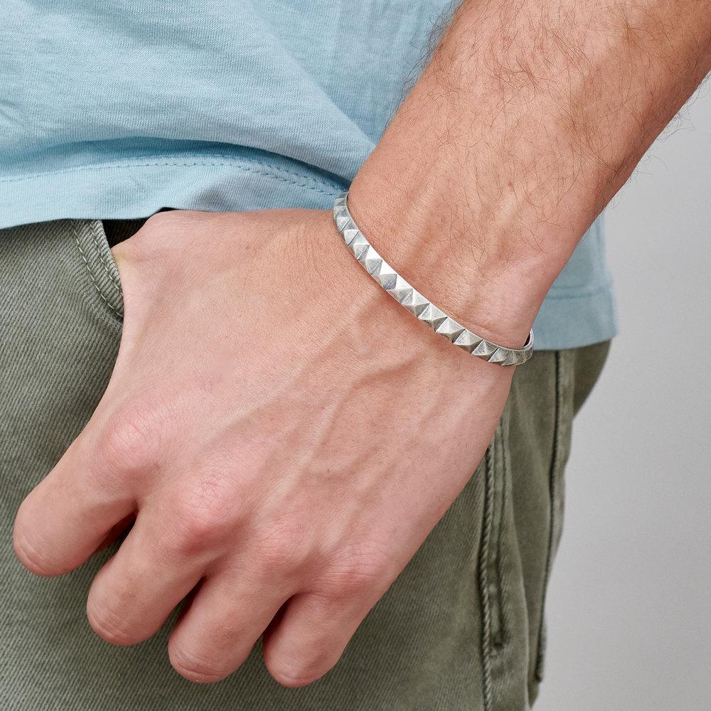 Pyramid Open Cuff Bracelet - Silver - 2