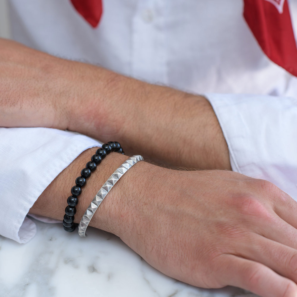 Pyramid Open Cuff Bracelet - Silver - 4