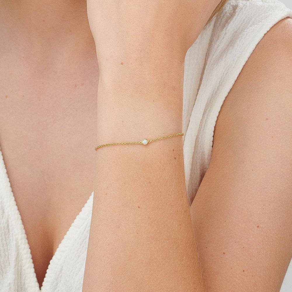 Luna Single Diamond Bracelet - Gold Plated - 3