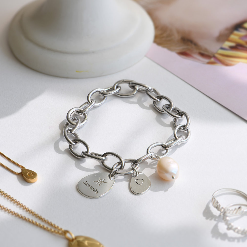Link Bracelet With Custom Charms and Pearl  - Silver - 3
