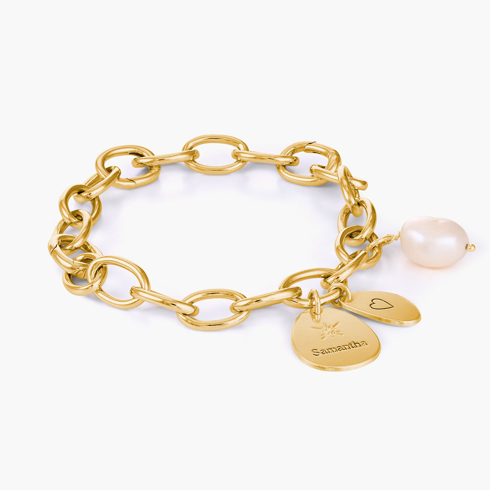 Link Bracelet With Custom Charms and Pearl - Gold Plated