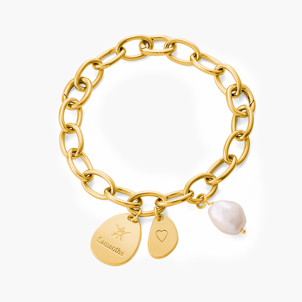 Link Bracelet With Custom Charms and Pearl - Gold Plated - 1