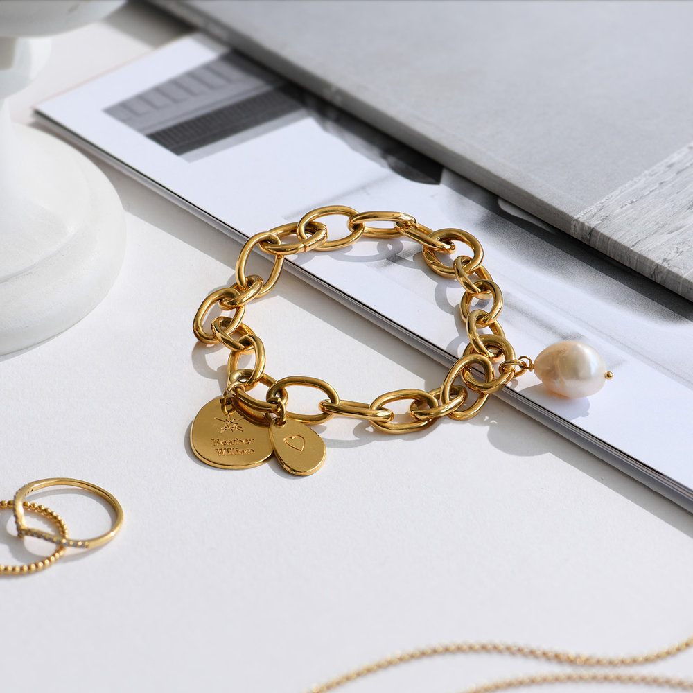 Link Bracelet With Custom Charms and Pearl - Gold Plated - 2