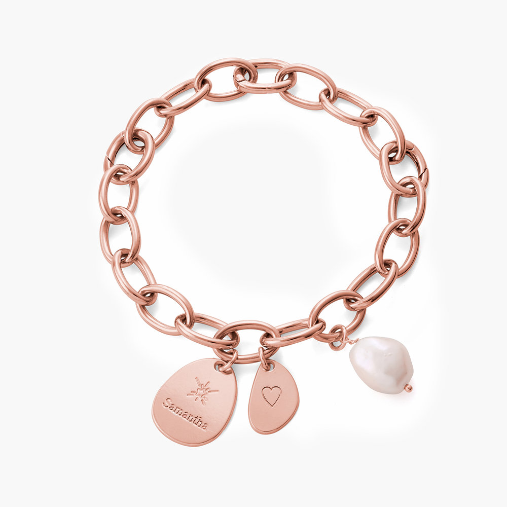 Link Bracelet With Custom Charms and Pearl - Rose Plated - 1