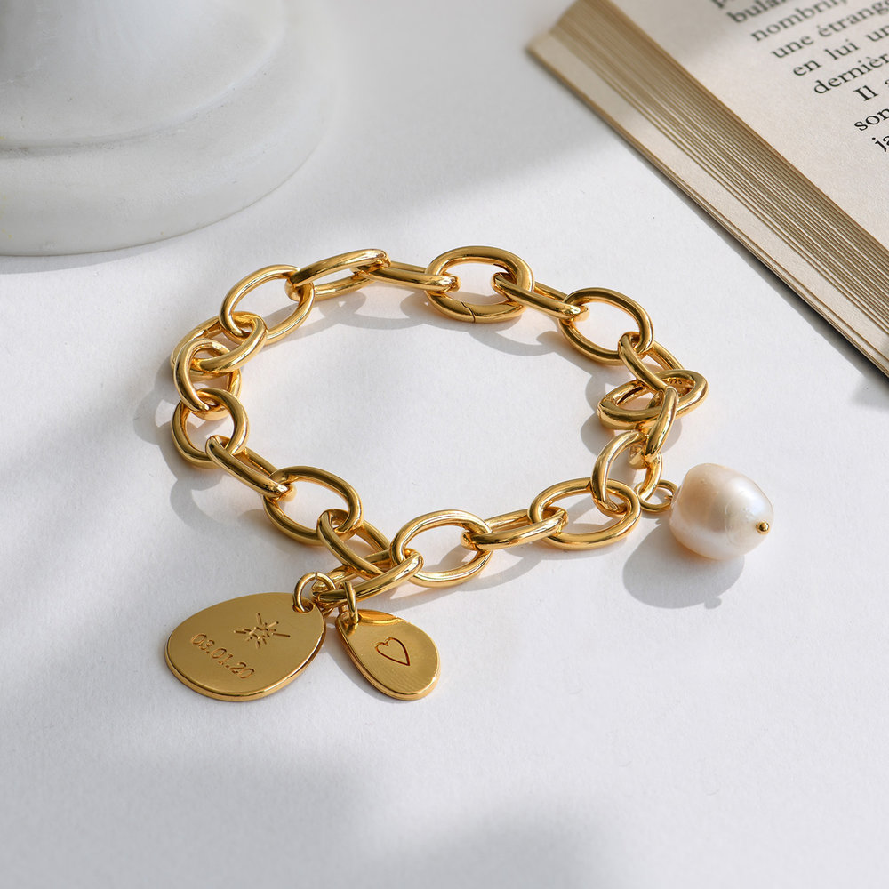 Link Bracelet With Custom Charms and Pearl - Gold Vermeil - 2