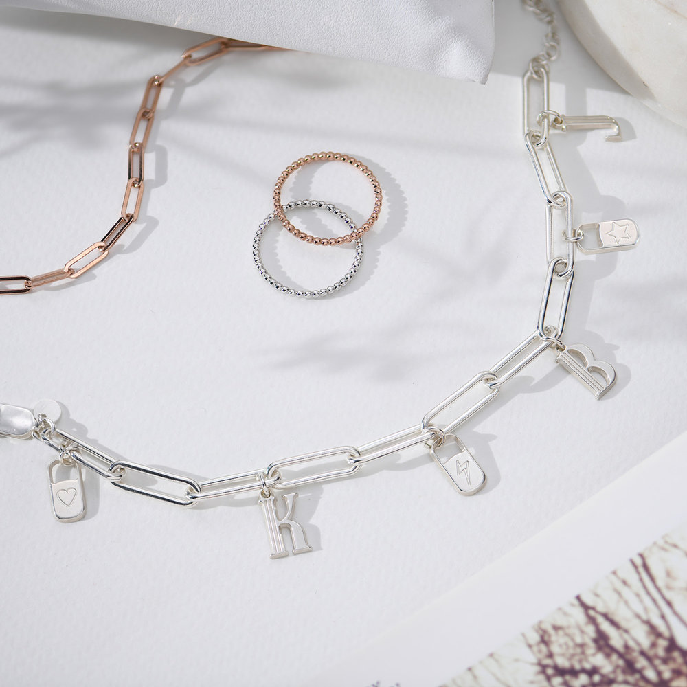 The Charmer Link Initial Bracelet - Sterling Silver - 2
