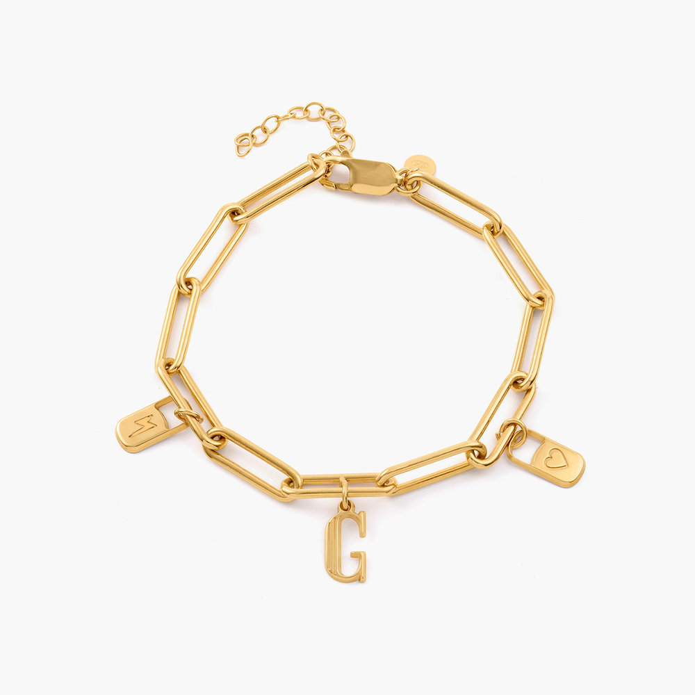 The Charmer Link Initial Bracelet - Gold Plated - 1