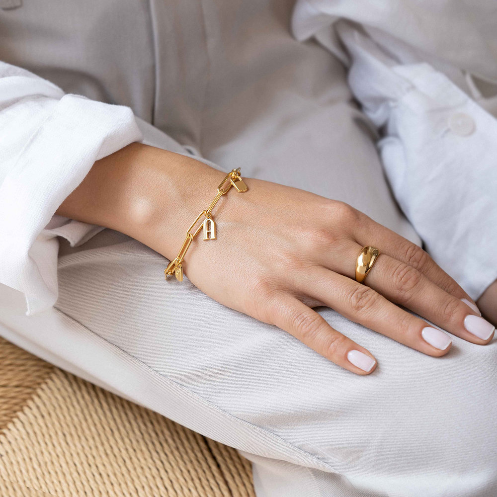 The Charmer Link Initial Bracelet - Gold Plated - 3