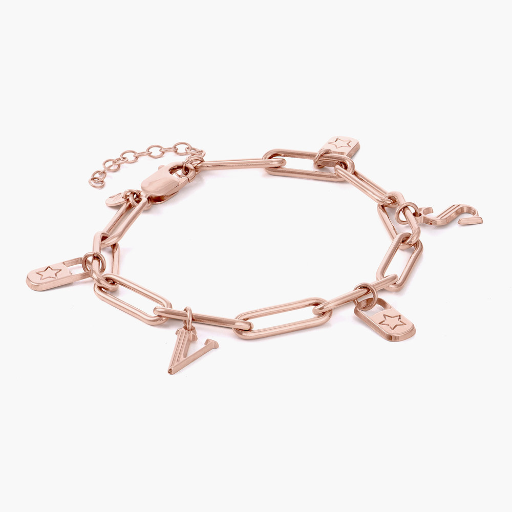 The Charmer Link Initial Bracelet - Rose Gold Plated