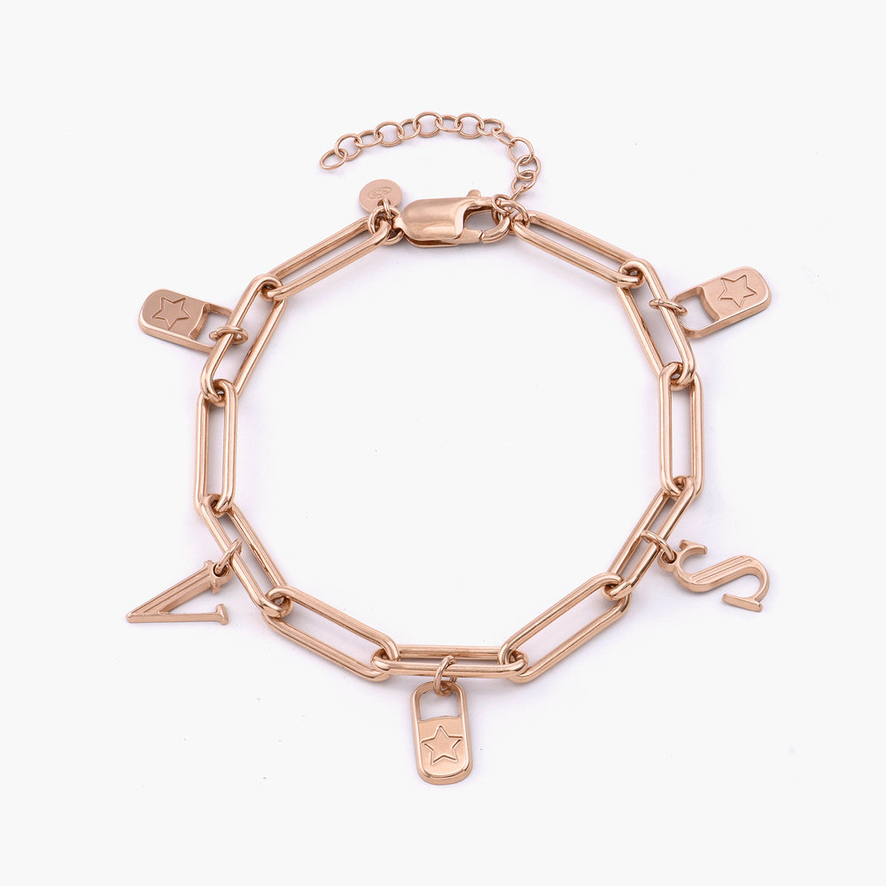 The Charmer Link Initial Bracelet - Rose Gold Plated - 1