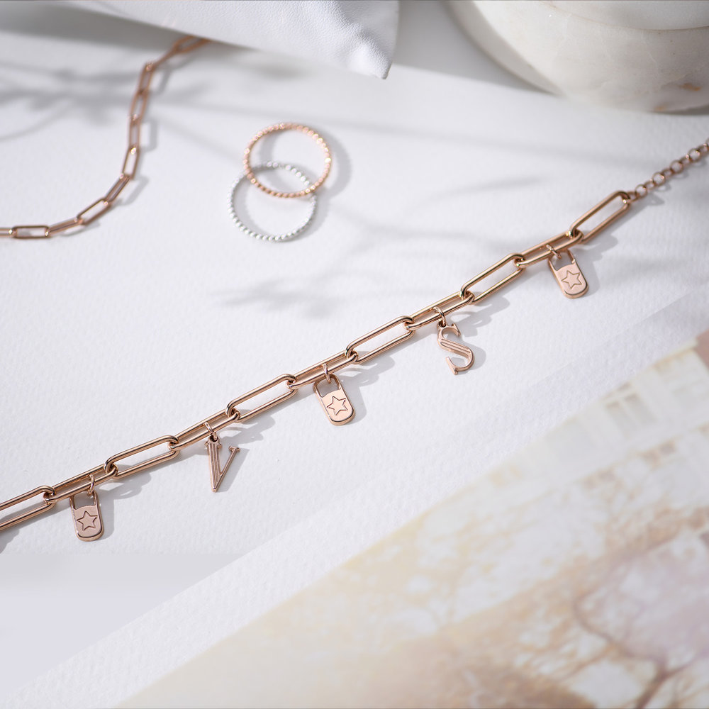 The Charmer Link Initial Bracelet - Rose Gold Plated - 2