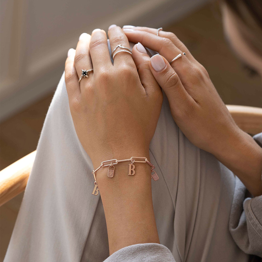 The Charmer Link Initial Bracelet - Rose Gold Plated - 3