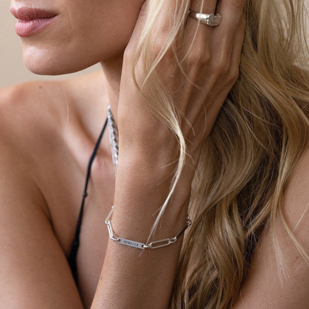 Ivy Name Paperclip Chain Bracelet - Sterling Silver - 3
