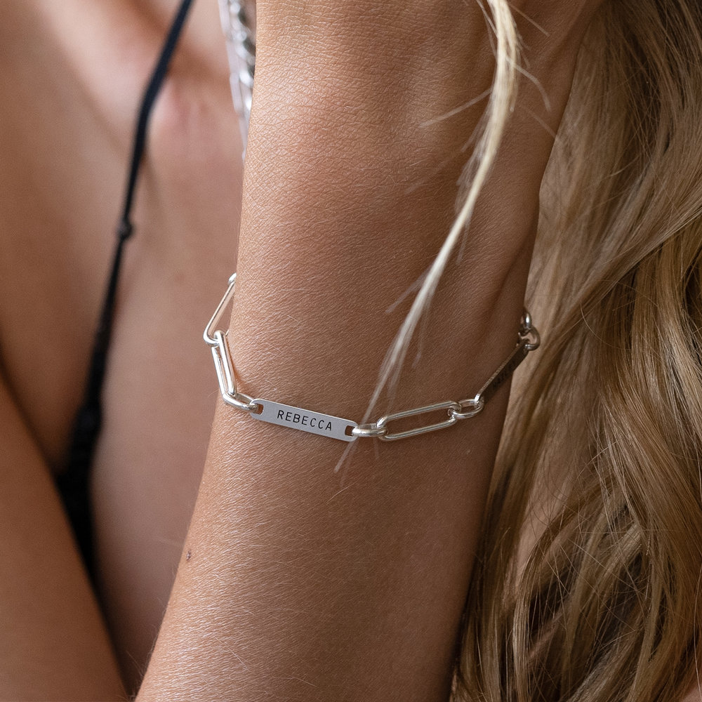 Ivy Name Paperclip Chain Bracelet - Sterling Silver - 4