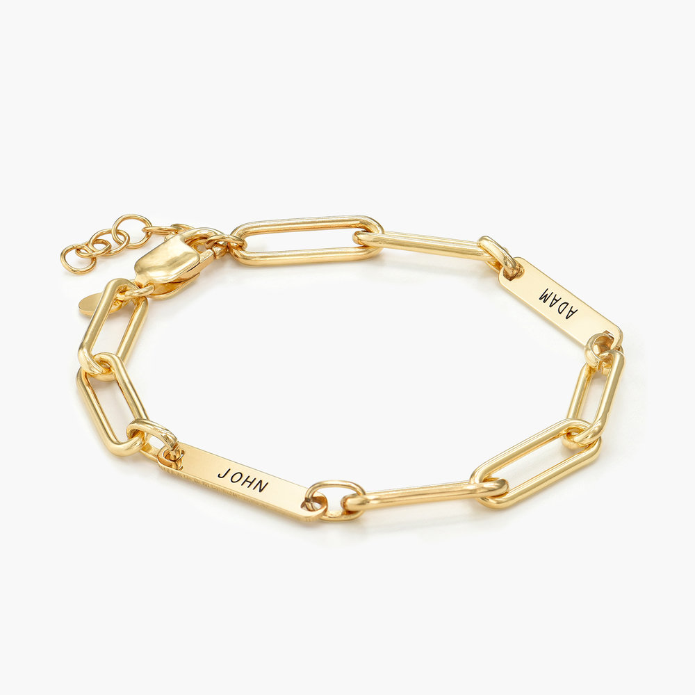 Ivy Name Paperclip Chain Bracelet - Gold Plating