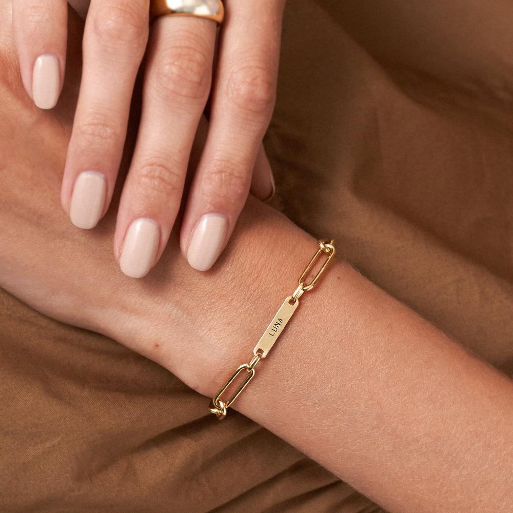 Ivy Name Link Chain Bracelet - Gold Plating - 5