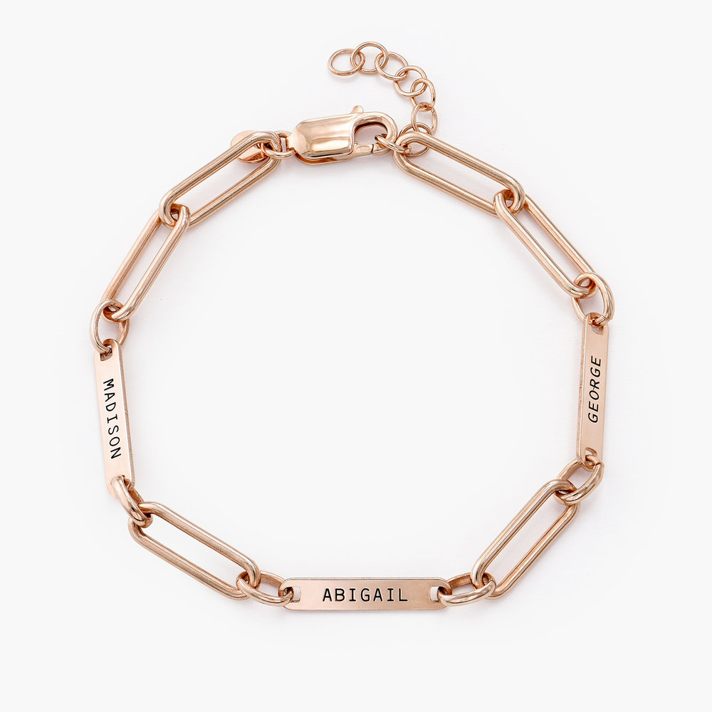 Ivy Name Paperclip Chain Bracelet - Rose Gold Plating - 1