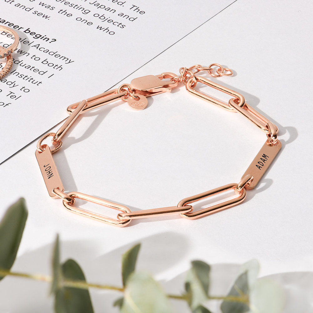 Ivy Name Paperclip Chain Bracelet - Rose Gold Plating - 2