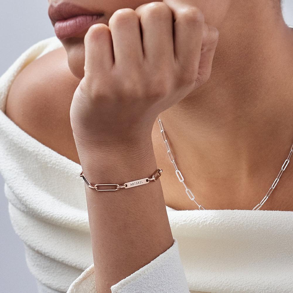 Ivy Name Paperclip Chain Bracelet - Rose Gold Plating - 4