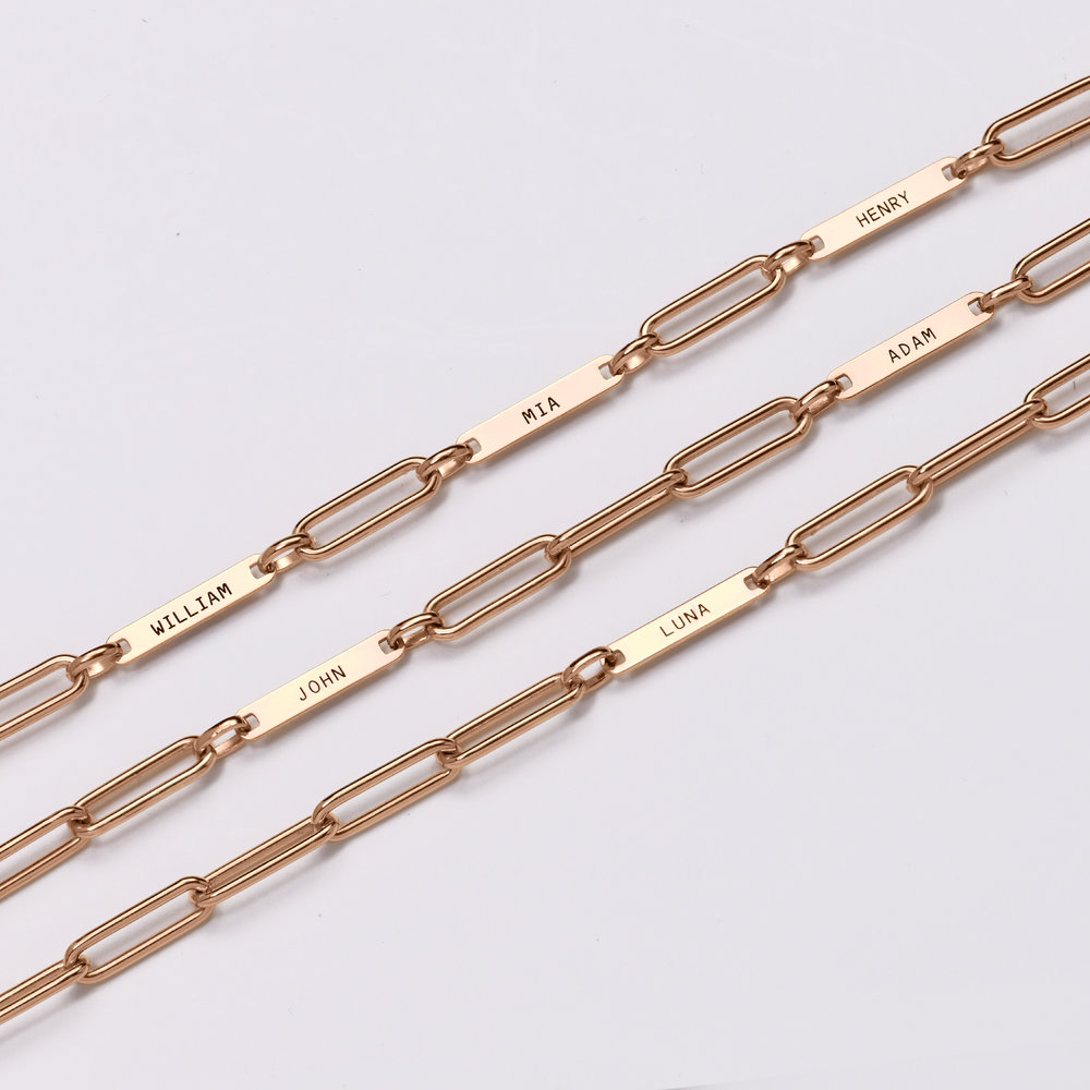 Ivy Name Paperclip Chain Bracelet - Rose Gold Plating - 5