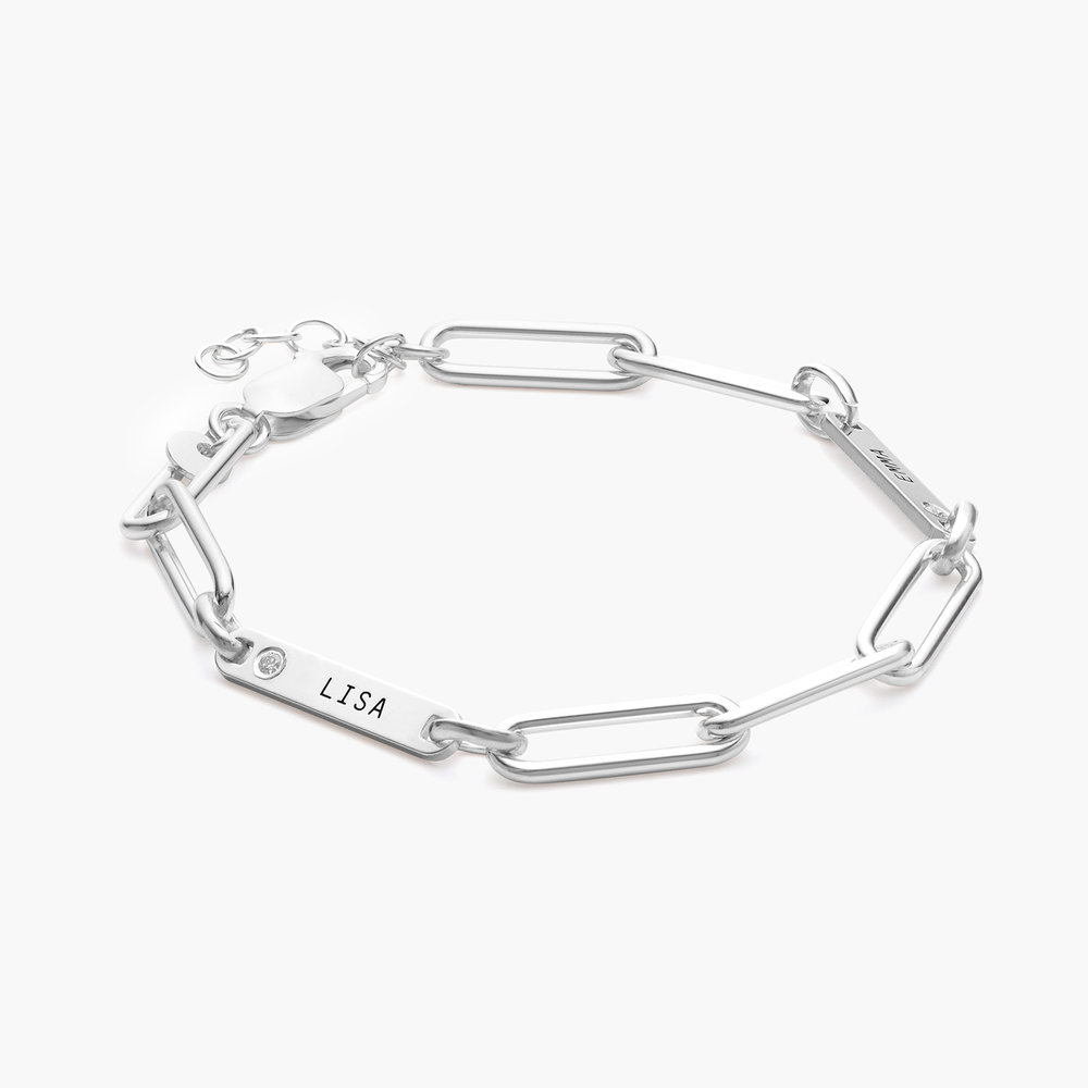 Ivy Name Paperclip Chain Bracelet with Diamond - Silver