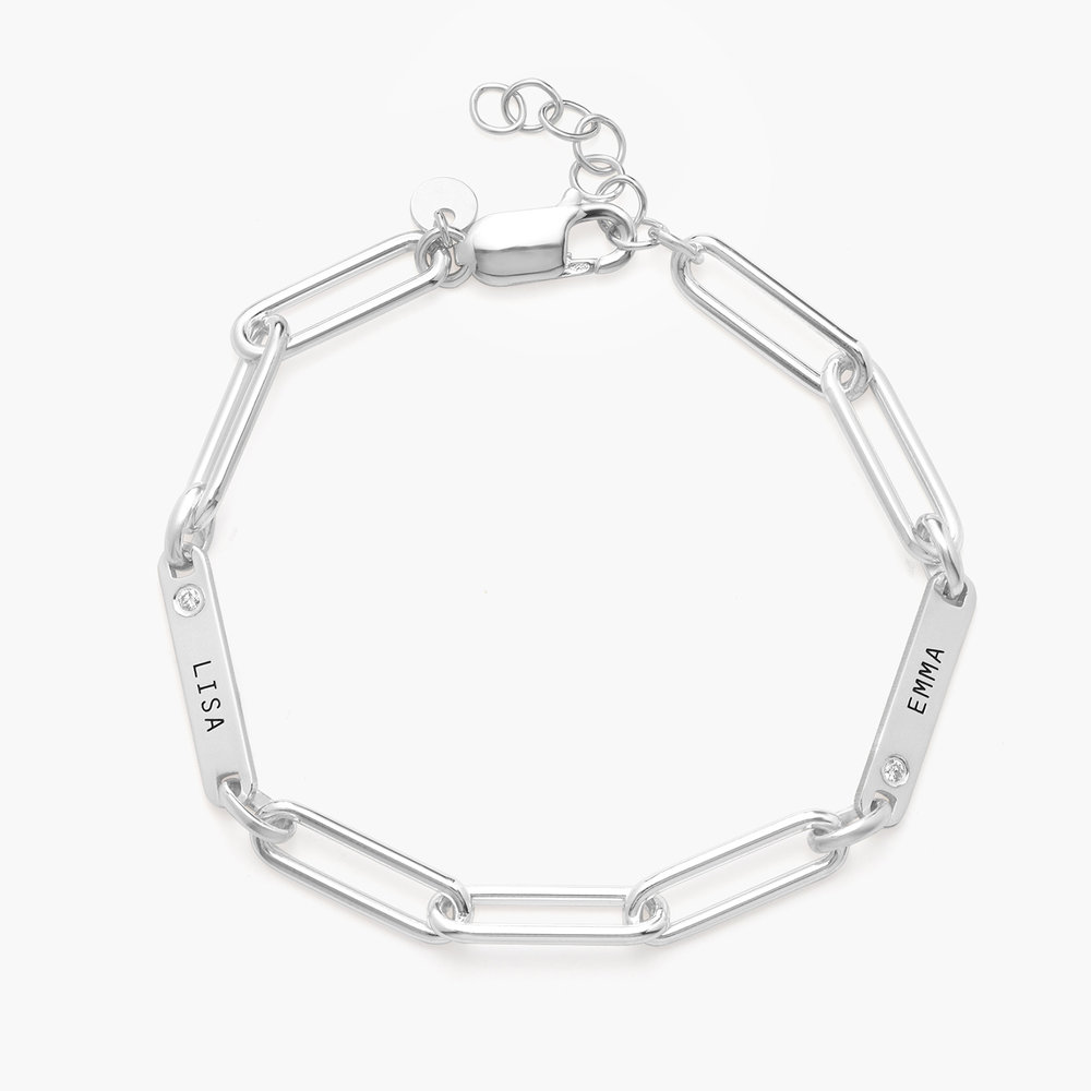 Ivy Name Paperclip Chain Bracelet with Diamond - Silver - 1