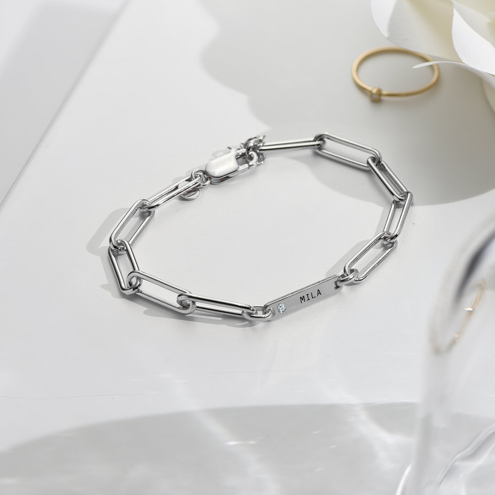 Ivy Name Paperclip Chain Bracelet with Diamond - Silver - 2