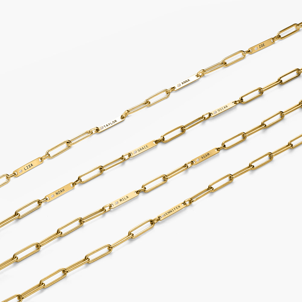 Ivy Name Paperclip Chain Bracelet with Diamond - Gold Plating - 2
