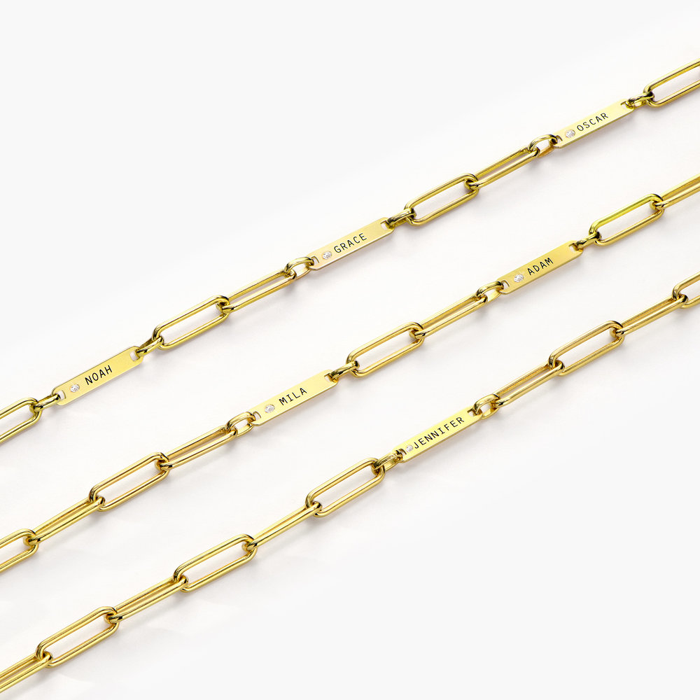 Ivy Name Paperclip Chain Bracelet with Diamond - Gold Plating - 5