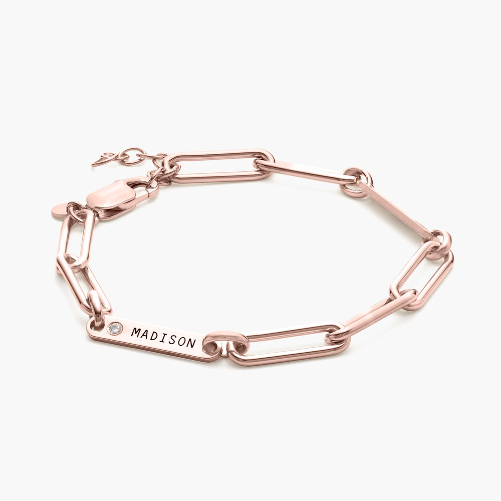 Ivy Name Paperclip Chain Bracelet with Diamond - Rose Gold Plating